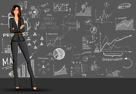 business woman standing: Young beautiful long legged  business woman against the doodle style  sketch background in formal suit vector illustration