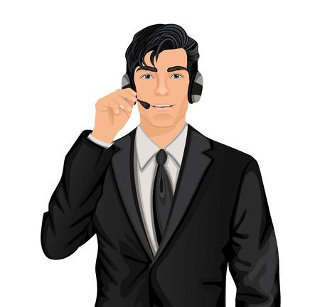 Giovane uomo bello servizio clienti rappresentante in abito formale con le cuffie set illustrazione vettoriale Vettoriali