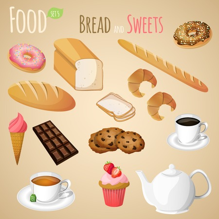 Fresh natural bread and sweets set with tea and coffee cup isolated vector illustration