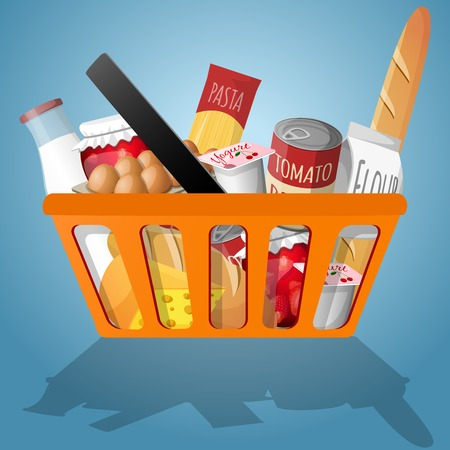 Food decorative elements collection in shopping basket vector illustration