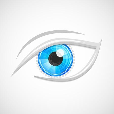 Decorative cyber robot digital hi-tech look vision optic emblem isolated vector illustration. Vector