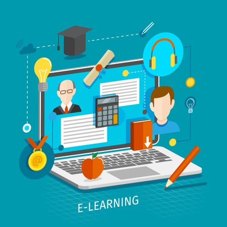 Onderwijs school universiteit e-learning plat concept met laptop en afstuderen iconen vector illustratie. Stock Illustratie