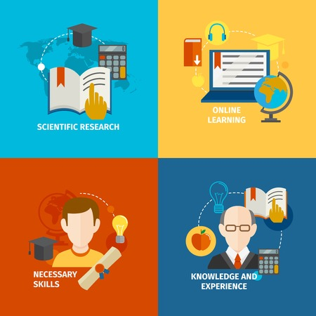 experience: E-learning scientific research knowledge and experience flat icons set isolated vector illustration