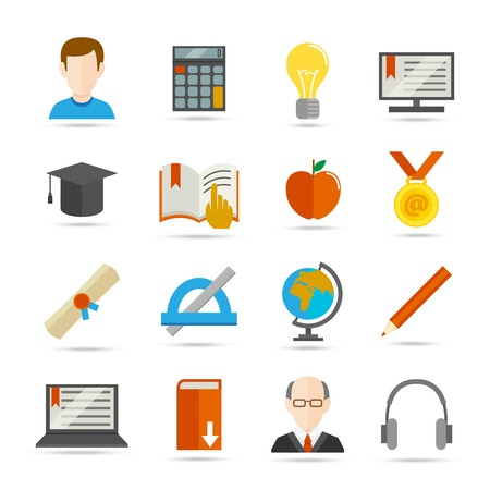 Education school university e-learning flat icons set with graduation science computer elements isolated vector illustration Vector