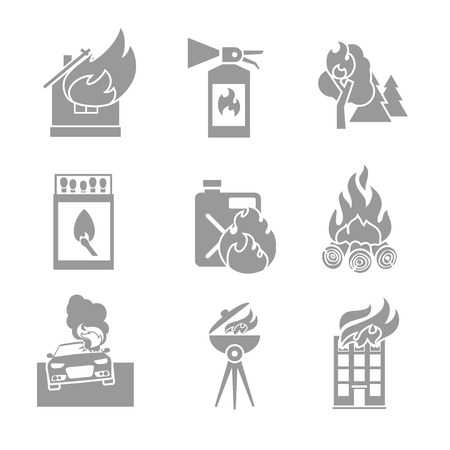 Fire protection black and white icons set of house forest car accidents isolated vector illustration Vector