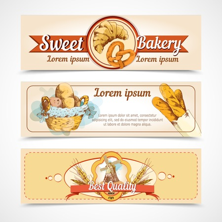 puff pastry: Sweet bakery  best quality bread and pastry food hand drawn banners vector illustration