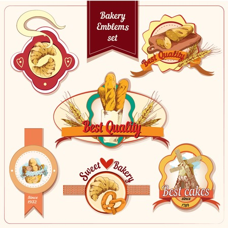 Best quality sweet bakery bread and pastry food emblems set vector illustration Vector