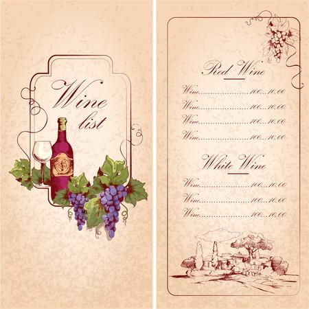 Vintage restaurant wine list card menu template vector illustration Vector