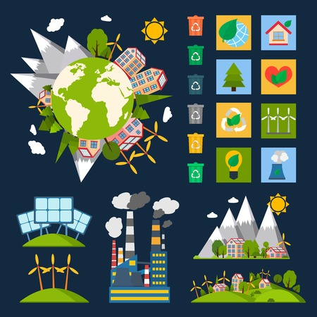 world village: Green eco world ecology symbols set with globe recycling energy and nature icons vector illustration