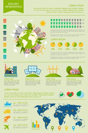wind energy: Ecology eco friendly energy world infographic set with graphs and charts vector illustration Illustration
