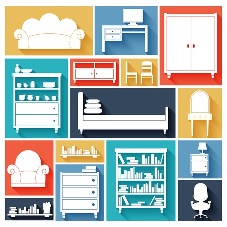 Furniture paper silhouette decorative icons set of chair sofa desk bed isolated vector illustration