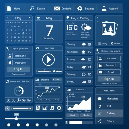 interface design: Flat user interface design template page menu and layout vector illustration