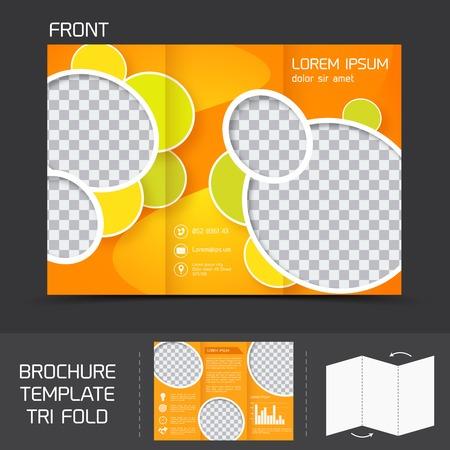 leaflet design: Orange circles brochure leaflet design template tri-fold corporate presentation vector illustration