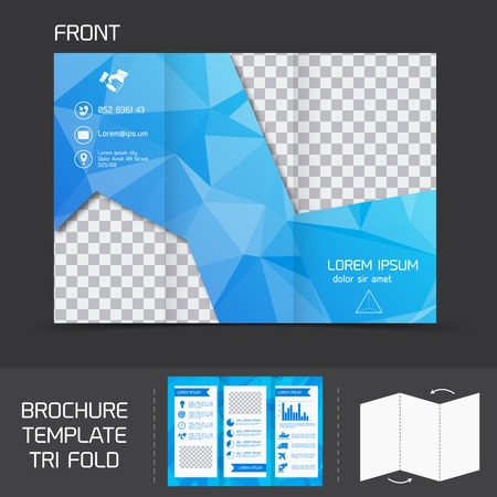 Blue technology brochure leaflet design template tri-fold marketing flyer vector illustration Vector