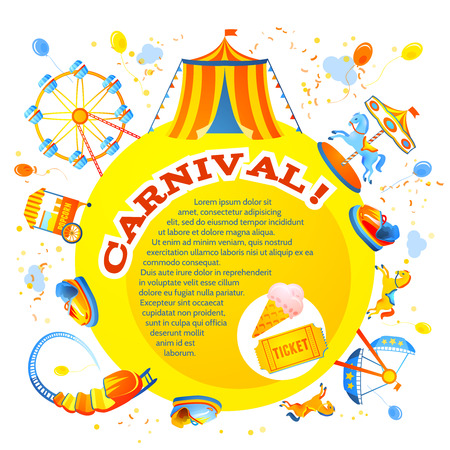 Parque temático y de atracciones de entretenimiento carnaval Invitación del diseño de flyer ilustración vectorial