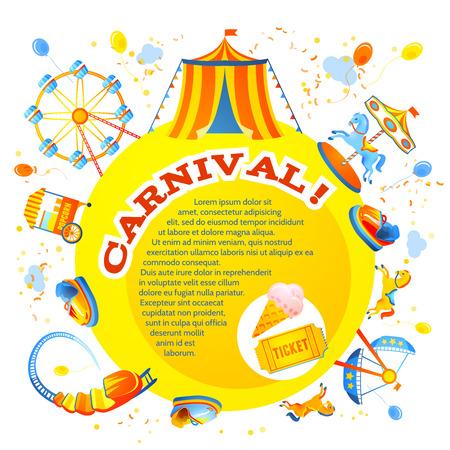 Parque temático y de atracciones de entretenimiento carnaval Invitación del diseño de flyer ilustración vectorial Foto de archivo - 28133686