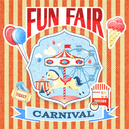 amusement park rides: Vintage carnival fun fair theme park poster template vector illustration Illustration