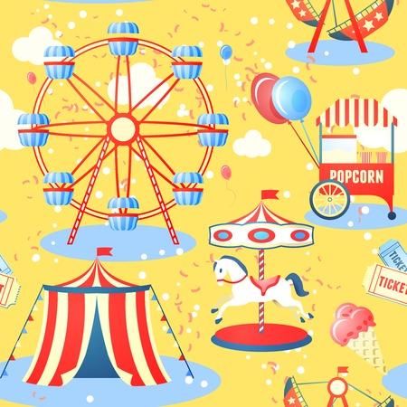 娯楽娯楽公園の観覧車アイスクリーム ポップコーン ベクトル イラストのシームレスなパターン 写真素材 - 28133689
