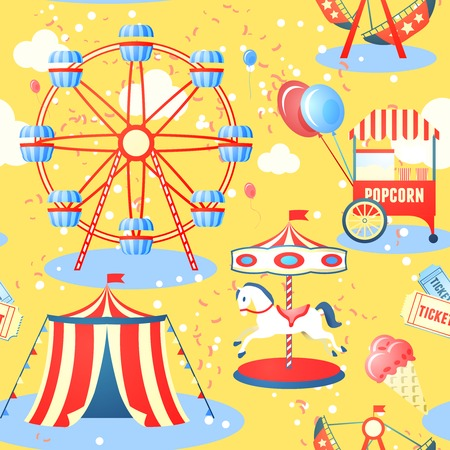 Amusement entertainment park seamless pattern with ferris wheel ice cream popcorn vector illustration Çizim