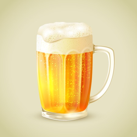 foam party: Cool glass mug of cold golden beer with foam emblem vector illustration