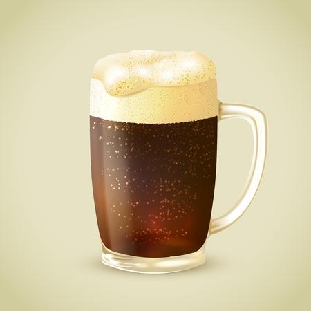 cerveza negra: Taza de cristal escarchada fresca de frío cerveza negra con emblema ilustración vectorial de espuma