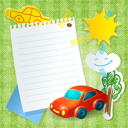 Toy car kid paper postcard template with tree sun and cloud  stickers vector illustration Vector