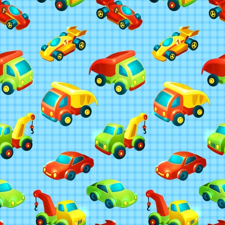 Toy transport decorative seamless pattern with truck racing car auto isolated vector illustration Vector