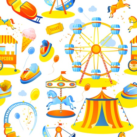 Amusement entertainment park seamless pattern with tent cars rides vector illustration Illustration