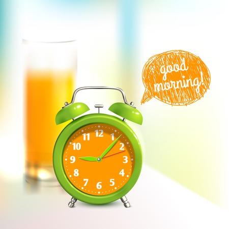 Wekker en sinaasappelsap glas goedemorgen achtergrond vector illustratie