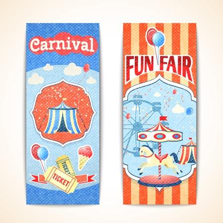 fun fair: Amusement entertainment carnival theme park fun fair vintage vertical banners isolated vector illustration