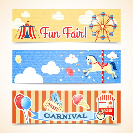 amusement park rides: Vintage retro carnival fun fair vertical banners isolated vector illustration