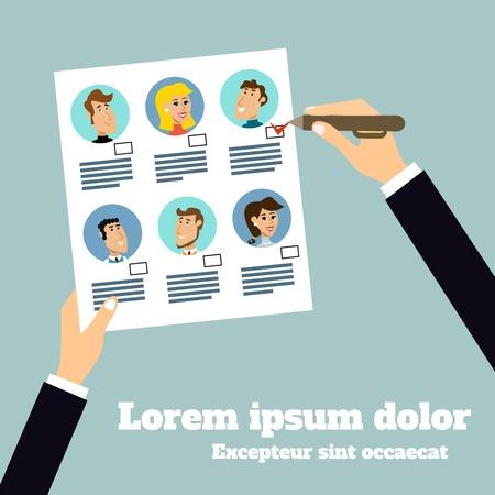kiválasztás: Üzleti cucc emberi erőforrások csapat kiválasztása plakát vektoros illusztráció
