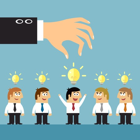 Business ideas selection concepts with human staff and lightbulbs symbols vector illustration Illustration