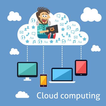 ingeniero caricatura: Concepto de nube de computación de negocios con el programador y los dispositivos móviles ilustración vectorial