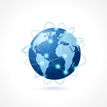 ネットワーク グローブ球地球地図アイコン ソーシャル メディア技術概念ベクトル イラスト