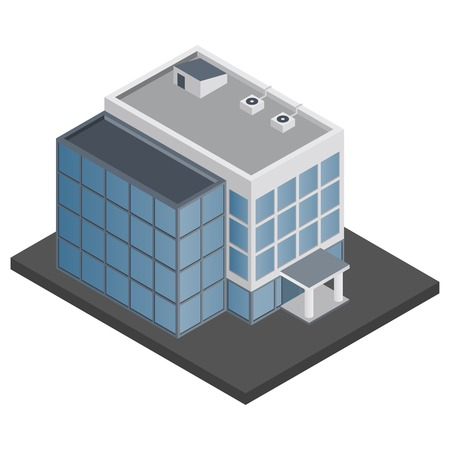 office building: Business modern 3d urban office building isometric isolated vector illustration