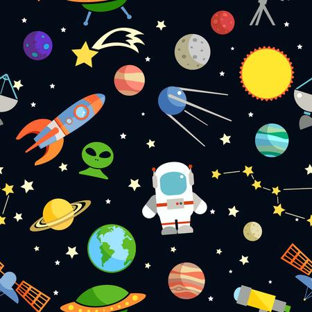 宇宙と天文装飾的な記号のシームレスなパターン ベクトル イラスト  イラスト・ベクター素材