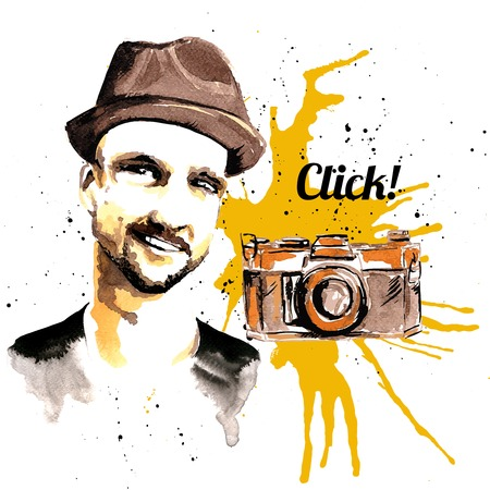 stubble: Male hipster character with hat and photo camera ink drawn poster vector illustration Illustration