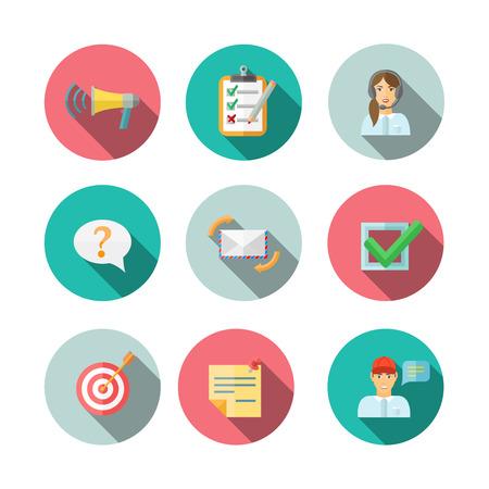feedback link: Feedback computer web mobile technology pictograms circle  icons set flat vector illustration Illustration