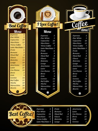 Coffee menu templates with espresso cappuccino latte positions vector illustration