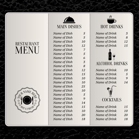main dishes: Lista del men� del restaurante con platos principales bebidas y c�cteles ilustraci�n vectorial