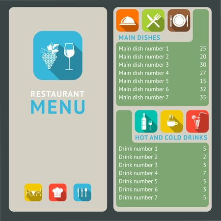 cloche: Modern restaurant menu list with flat cooking and serving icons vector illustration Illustration