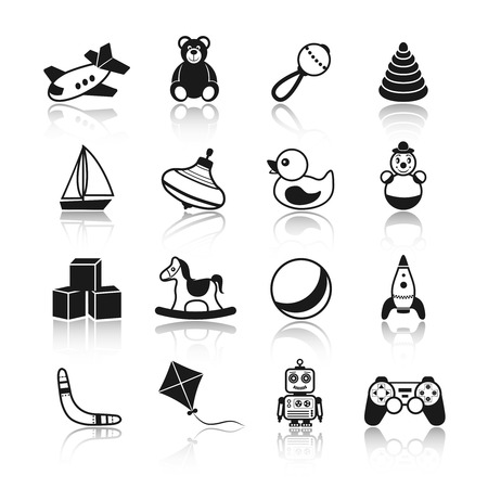 Black and white kid children toys icons set of airplane teddy bear rattle pyramid isolated vector illustration. Vector
