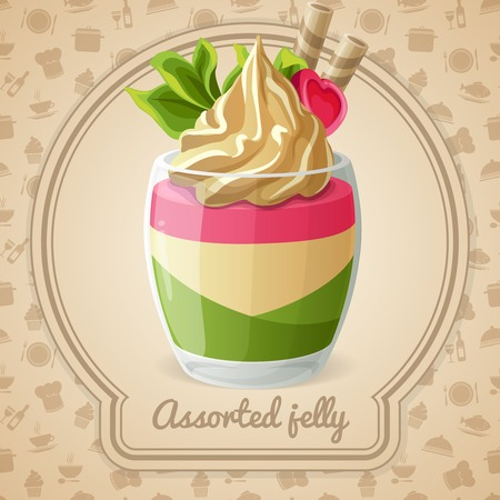 coffee jelly: Assorted jelly dessert with candy and mint badge and food cooking icons on background vector illustration