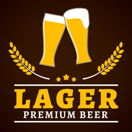 Premium lager beer glasses with foam and wheat ear poster vector illustration Vector