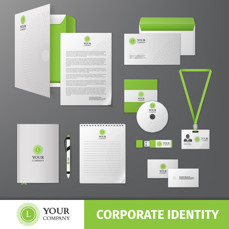 stationary: Green geometric business company stationery template for corporate identity and branding set isolated vector illustration Illustration