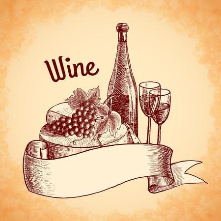 Wine vintage sketch decorative hand drawn poster vector illustration Vector