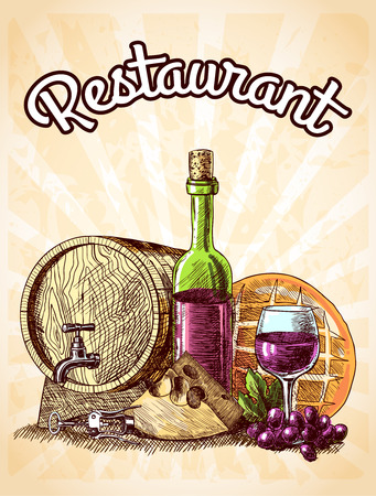 Wine cheese and bread vintage sketch decorative hand drawn restaurant poster vector illustration Vector