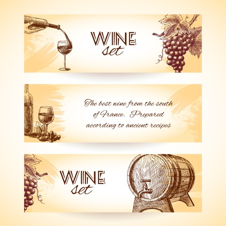 Wine vintage sketch banners set of wineglass bottle and barrel isolated vector illustration Vector