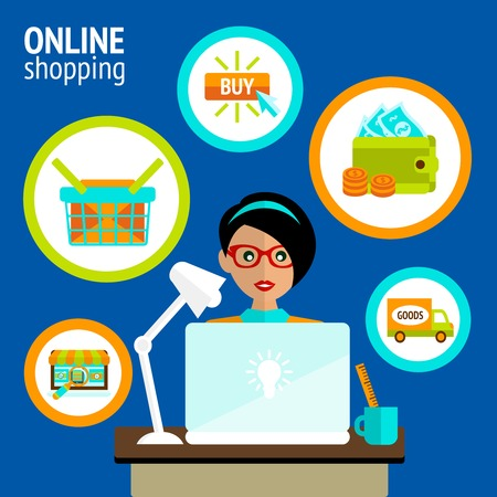 purchase order: Business woman person on laptop in online shopping search buy payment delivery concept vector illustration.